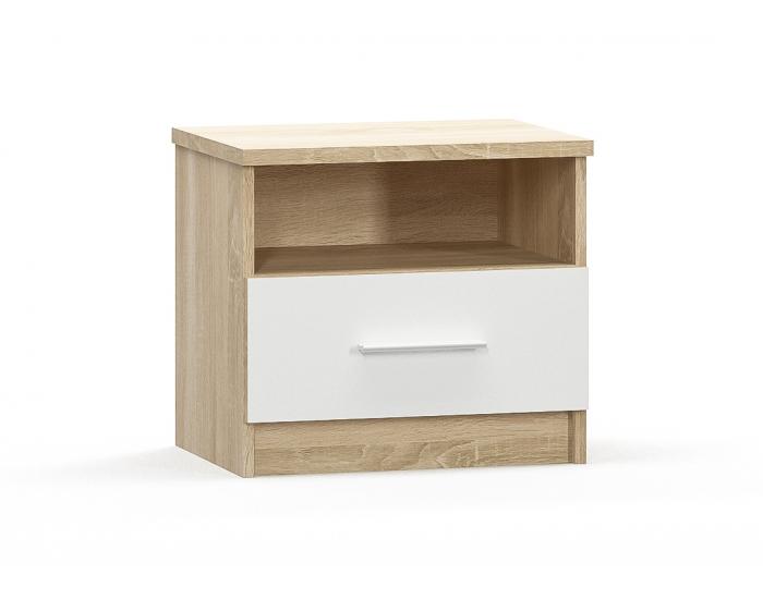 Nočný stolík (2 ks) Markos - dub sonoma / biela