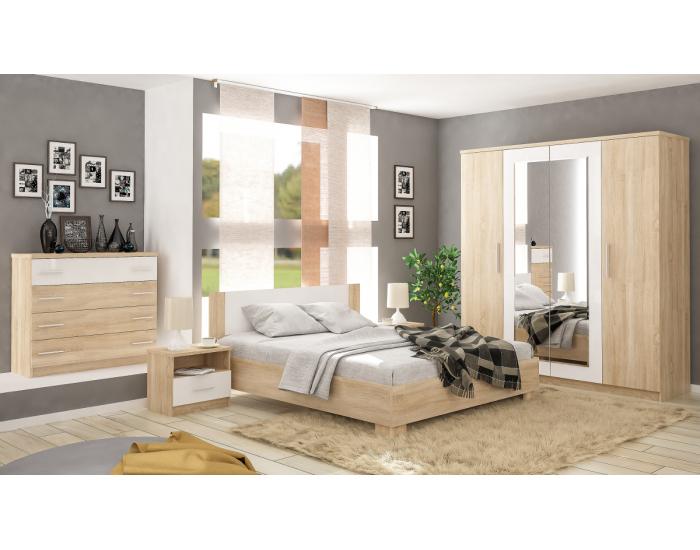 Manželská posteľ s roštom Markos 180 - dub sonoma / biela