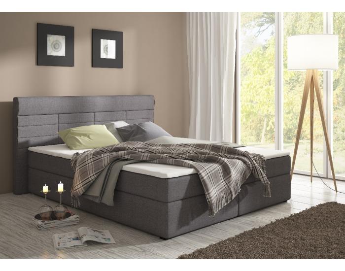 Čalúnená manželská posteľ s matracmi Torino 180 - grafit (megacomfort)