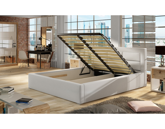 Čalúnená manželská posteľ s roštom Rovigo UP 160 - tmavosivá