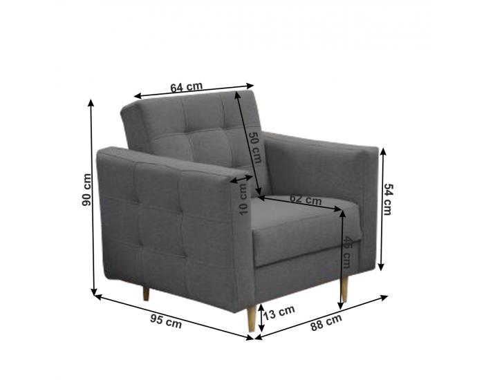 Rozkladacia sedacia súprava Amedia 3R+1+1 - tmavosivá
