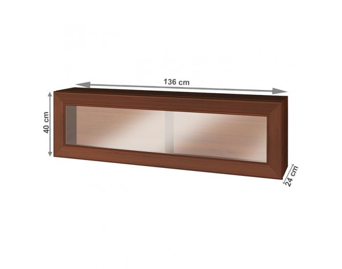 Rustikálna vitrína na stenu Walena 1W - orech vlašský