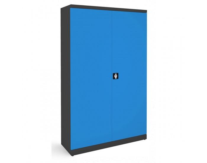 Kovová kancelárska skriňa s dvojkrídlovými dverami SB 1200 - grafit / modrá