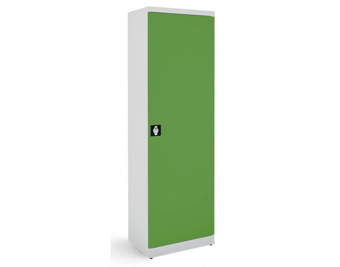 Kovová kancelárska skriňa s nastaviteľnými policami SB600 - svetlosivá / zelená