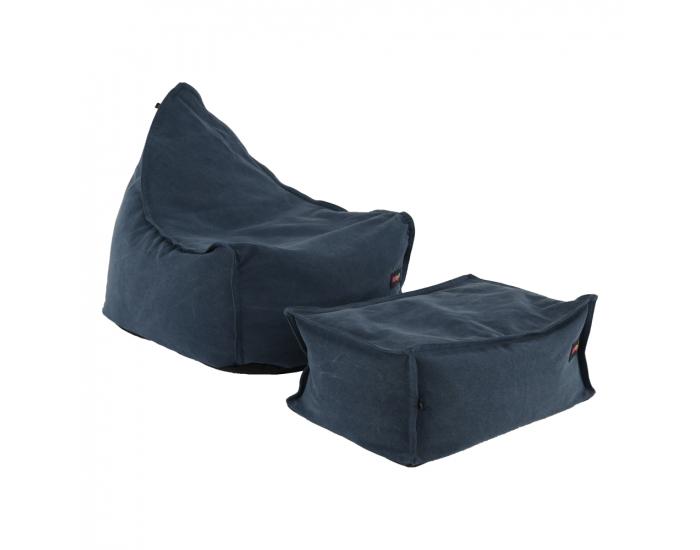 Sedací vak s taburetkou Liton - jeansová