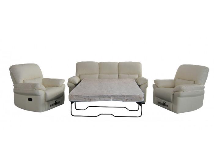 edf22a363 Kožená sedacia súprava s rozkladom Marcodom 23-027 - béžová koža
