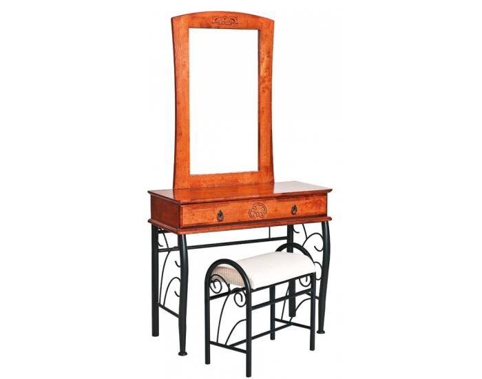 Rustikálny toaletný stolík so zrkadlom 1102 - čerešna antická / čierna