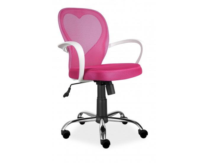 Detská stolička na kolieskach s podrúčkami Daisy - ružová