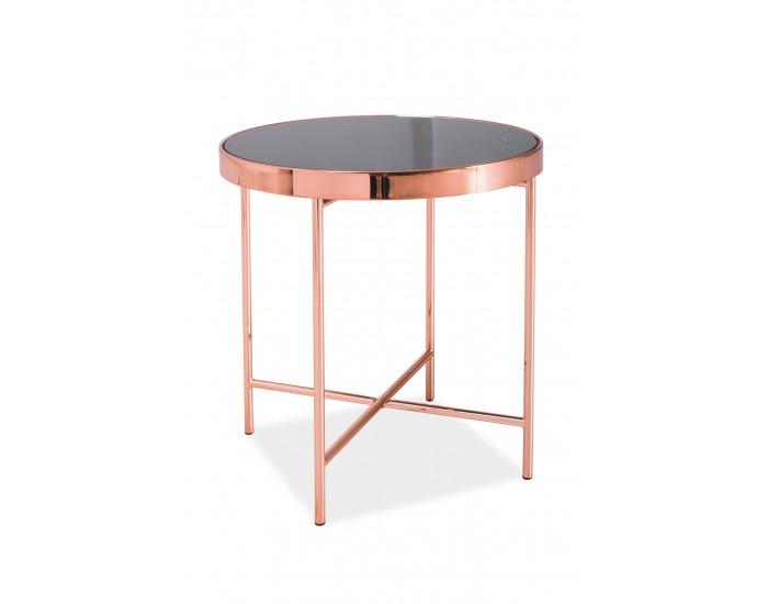 Okrúhly príručný stolík Gina C - čierna / medená