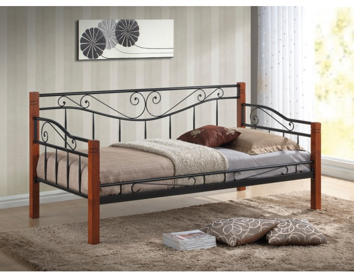 Kovová jednolôžková posteľ s roštom Kenia 90 - čierny kov / čerešňa antická