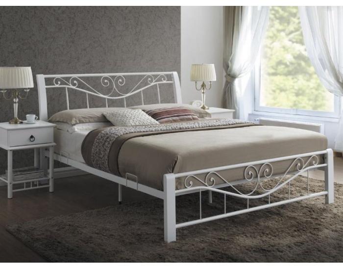 Rustikálna manželská posteľ s roštom Parma 160 - biela