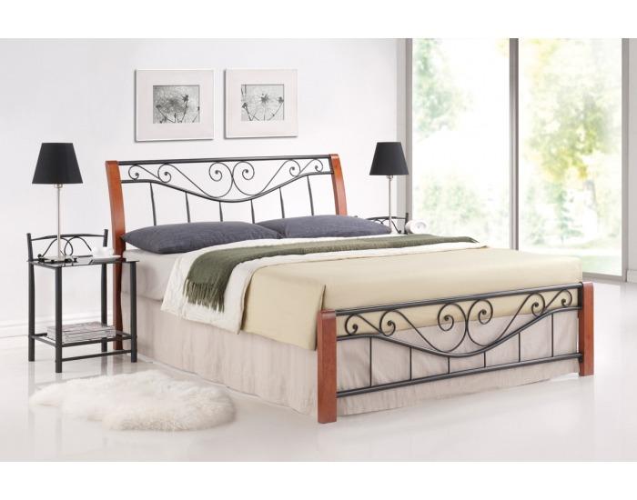 Rustikálna manželská posteľ s roštom Parma 160 - čerešna antická / čierna