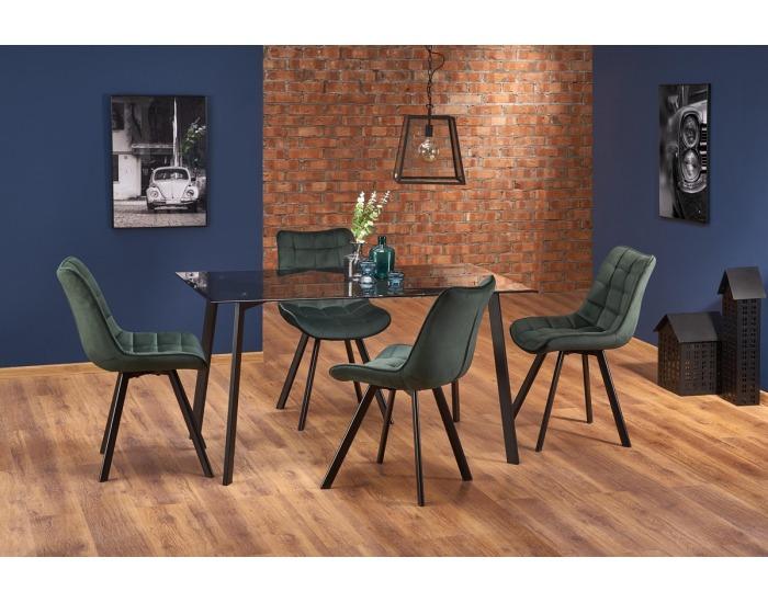 Sklenený jedálenský stôl Trax - dymová / čierna