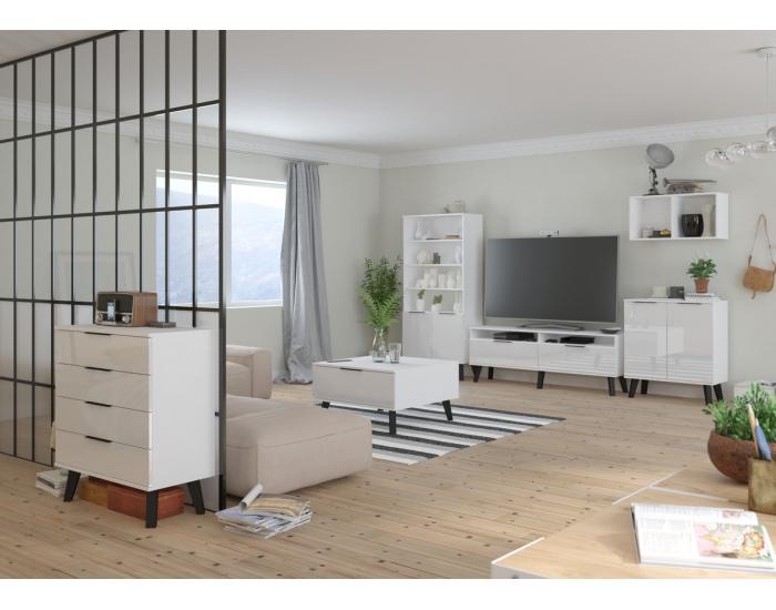 Obývacia izba Sven - biela / biely lesk