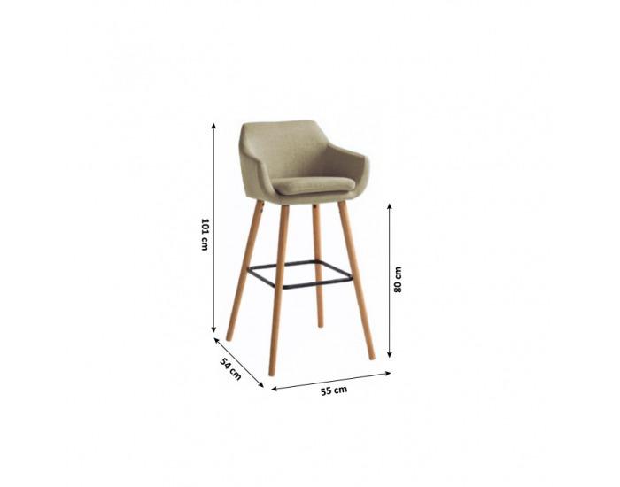 Barová stolička Tahira - béžová / buk