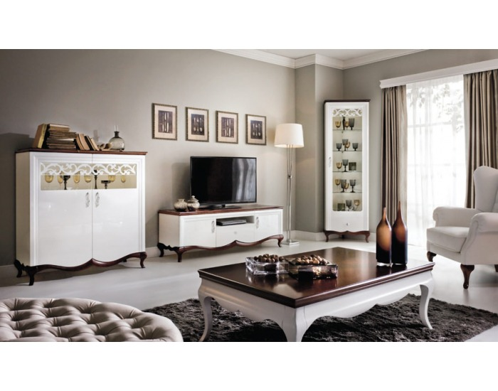 Rustikálna obývacia izba Milano - biely vysoký lesk / mahagón