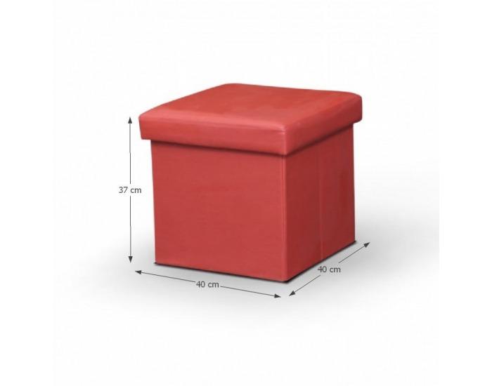 Taburetka s úložným priestorom Tela New - červená