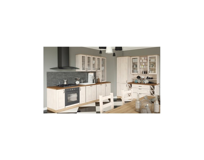 Dolná rohová kuchynská skrinka Royal D25PZ P - biela sosna nordická / dub divoký