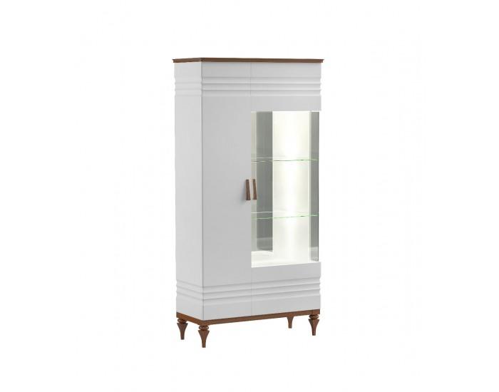 Rustikálna obývacia izba Torino - biely vysoký lesk / dub Torino