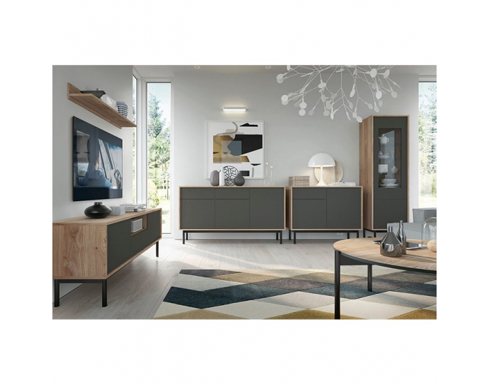 TV stolík Bergen BRTV104 - dub Jackson Hickory / grafit / čierna
