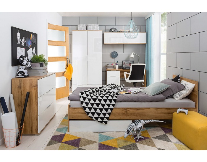 Študentská izba Zele - dub wotan / biely lesk