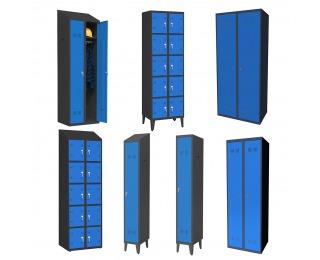 Kovová šatňa - grafit / modrá