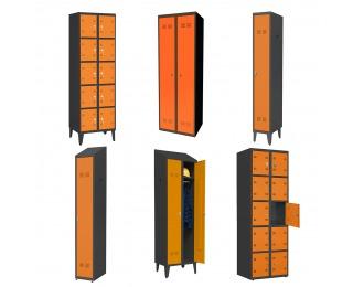 Kovová šatňa - grafit / oranžová