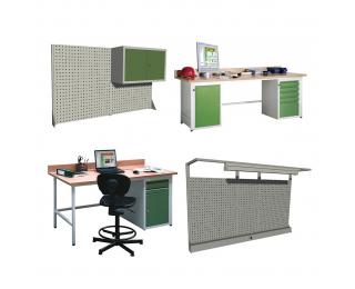 Dielenský PC stôl - svetlosivá / zelená