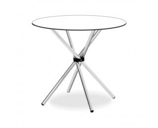 Okrúhly jedálenský stôl Vratko TD-512 - sklo / chróm