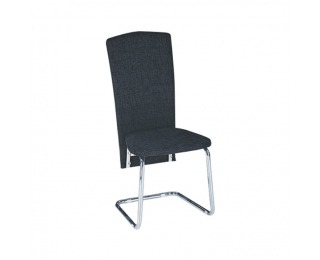 Jedálenská stolička July - čierna ekokoža / chróm