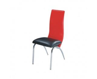 Jedálenská stolička Double - chróm / čierna / červená