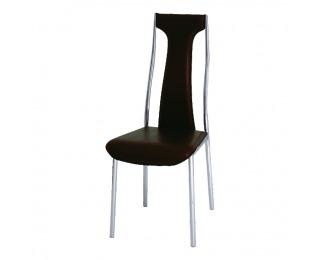 Jedálenská stolička Ria-Iris Y-257 - tmavohnedá ekokoža / chróm