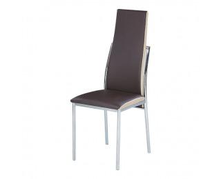 Jedálenská stolička Zora - chróm / tmavohnedá / béžová