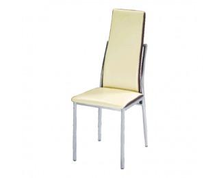 Jedálenská stolička Zora - chróm / béžová / hnedá