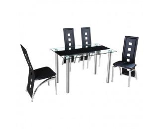 Sklenený jedálenský stôl Ester - oceľ / sklo