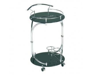 Servírovací stolík na kolieskach Vesna - čierne sklo / chróm