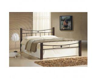 Manželská posteľ s roštom Paula 160 - orech / čierna