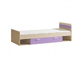 Jednolôžková posteľ s roštom a matracom Ego L13 80 - jaseň / fialová