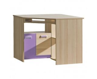 Rohový PC stolík Ego L11 - jaseň / fialová