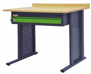Ľahký pracovný stôl so zásuvkou 06-3905 - grafit / zelená