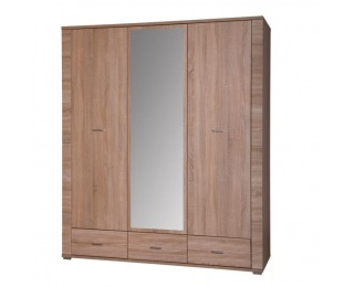 Šatníková skriňa so zrkadlom Grand 2 3D - dub sonoma