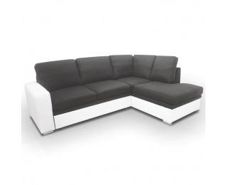 Rohová sedačka s rozkladom a úložným priestorom Waran P - biela / čierna
