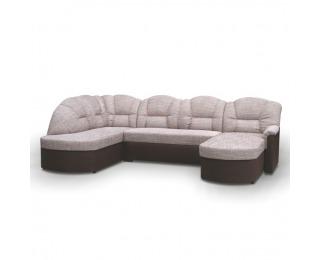 Rohová sedačka U s rozkladom a úložným priestorom Orfeo U L - hnedá / hnedá melírovaná