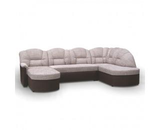 Rohová sedačka U s rozkladom a úložným priestorom Orfeo U P - hnedá / hnedá melírovaná