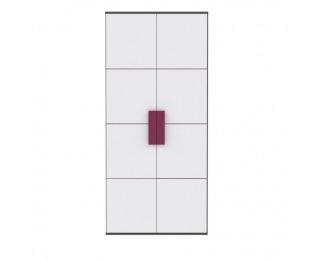 Šatníková skriňa Lobete S82 2D - sivá / biela / fialová