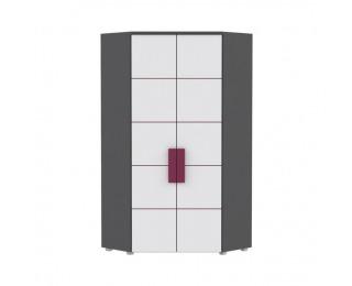 Rohová šatníková skriňa Lobete 89 - sivá / biela / fialová