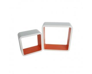 Poličky (2 ks) Fido - biela / oranžová