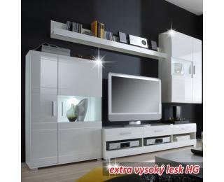 Obývacia stena Light - biely vysoký lesk