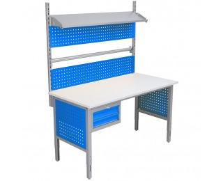 Baliarenský stôl s nadstavbou a úchytom na papier 1550 03 - svetlosivá / modrá