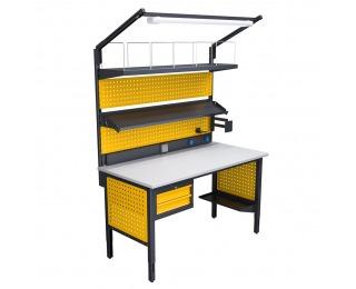 Baliarenský stôl s nadstavbou a osvetlením 1550 04 - grafit / žltá